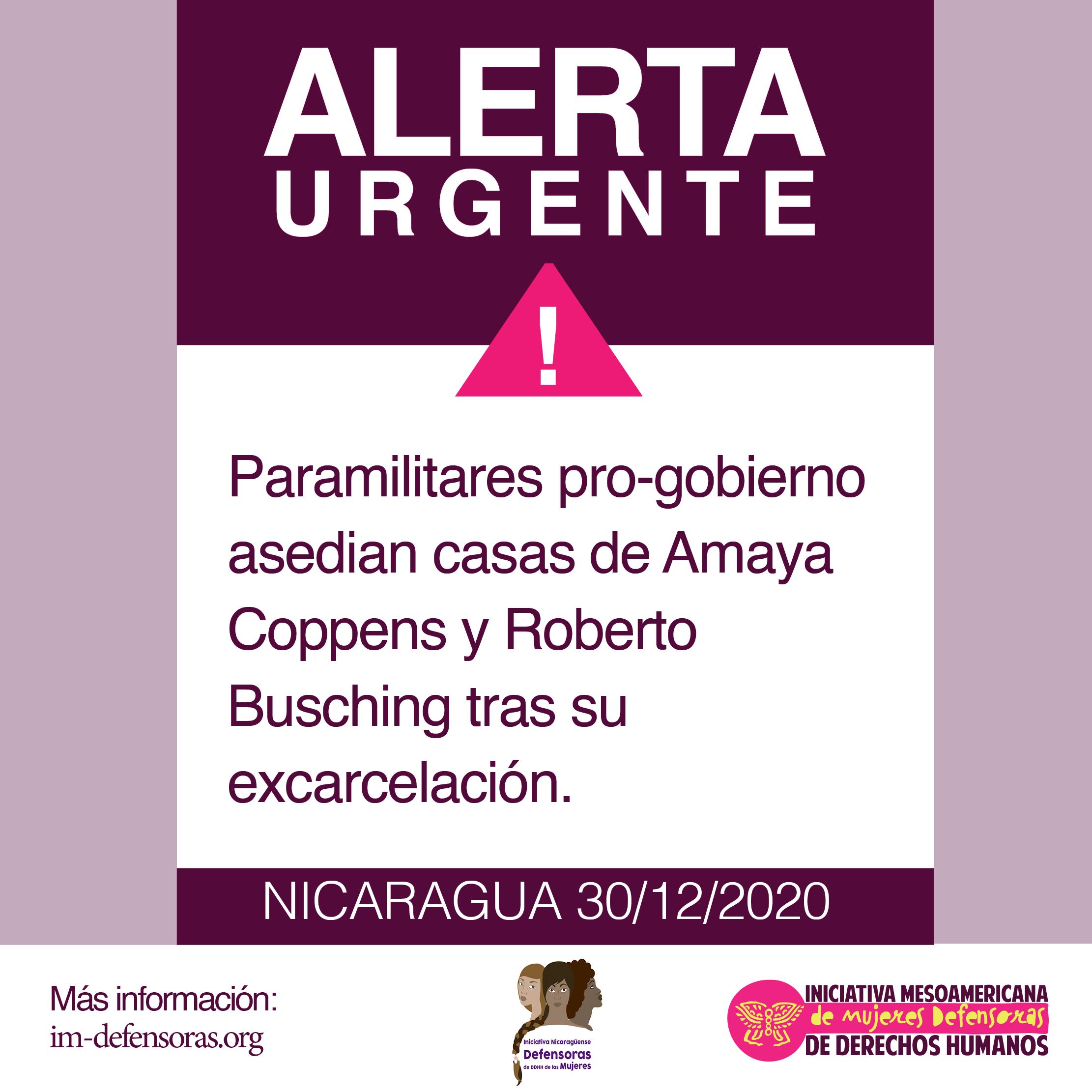Paramilitares pro-gobierno asedian casa de Amaya Coppens y Roberto Busching